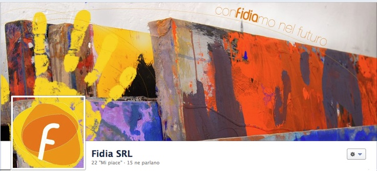 """Facebook Cover for Fidia - counsulting and training company.   The hand containing their logo and the slogan """"confidiamo nel futuro"""" in line with their website."""