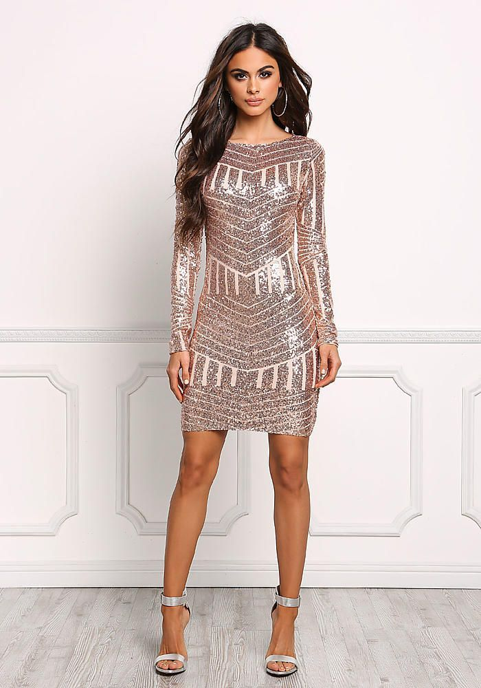 Rose Gold Sequin Open Back Bodycon Dress - Occasions - Dresses 2