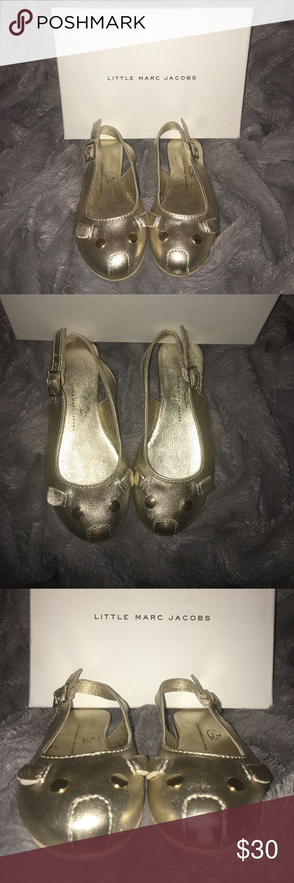 Little Marc Jacobs Leather Mouse Ballerinas Gold Leather Mouse Ballerinas opened at the back. Size 26 (US 9.5C) has some signs of wear in front of shoe Little Marc Jacobs Shoes Dress Shoes