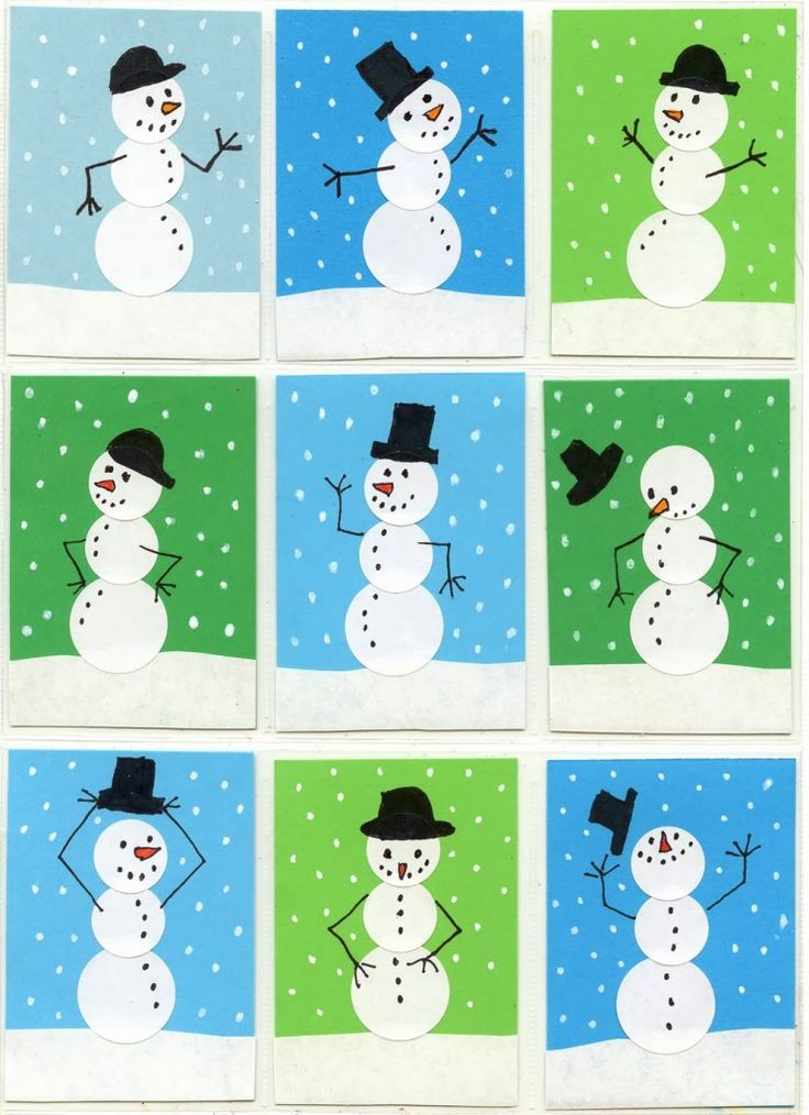 Snowmen cards made from office stickers and markers. No gluing! Art Projects for Kids #atc #snowmen