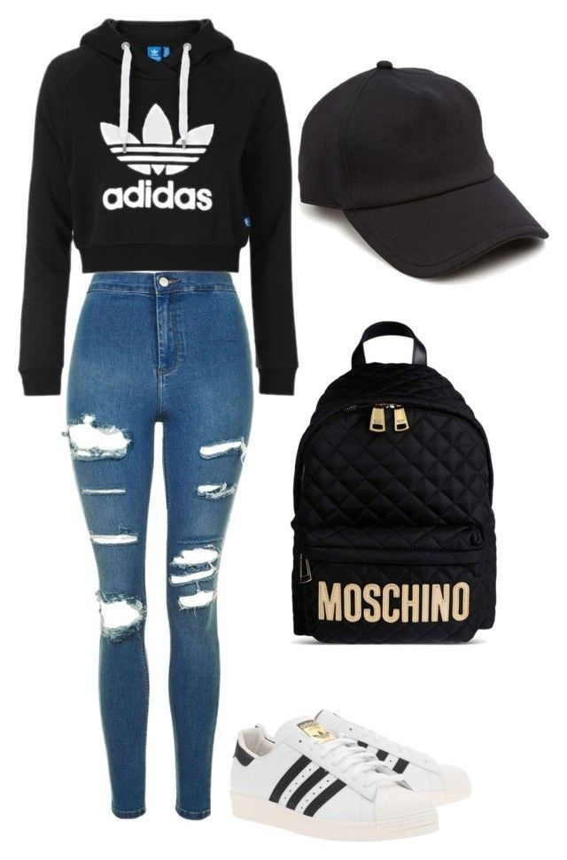 Adidas hoodie + black hat + blue ripped jeans + Moschino black backpack + adidas superstars