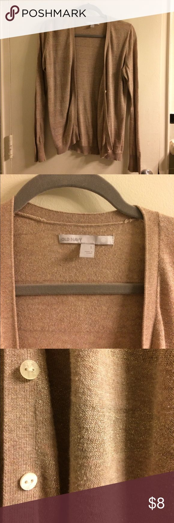 Tan and gold cardigan Cute lightweight cardigan. Great fall staple! Old Navy Sweaters Cardigans