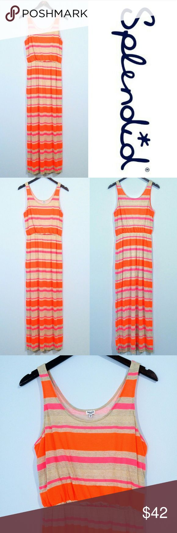 "Splendid Bright Striped Maxi Dress size Medium Excellent pre-loved condition Splendid maxi dress with bold pink and orange stripes. Also has thin sparkly gold stripes woven in. Perfect for spring and summer!  Bust approx 36"" Length approx 58"" shoulder to bottom hem  Shipped same day or next business day. Offers welcomed and bundles always discounted. Thanks for looking :) Splendid Dresses Maxi"