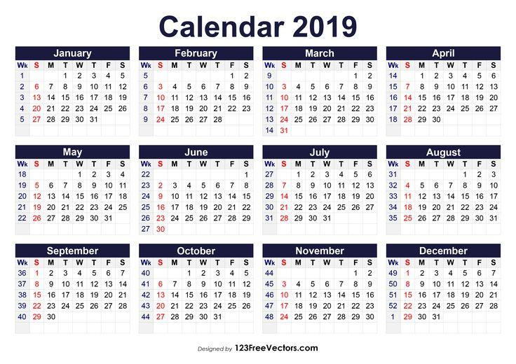 Image result for 2019 calendar weeks numbered (avec images) | Art, Free
