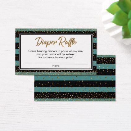 Teal Stripes & Confetti Diaper Raffle Ticket Cards - glitter gifts personalize gift ideas unique