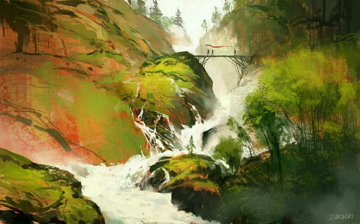 Sketch a of waterfall
