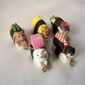 Cat Sushi Neko Zushi Nya-ta Key chain figure set in Original Paper Box Japan