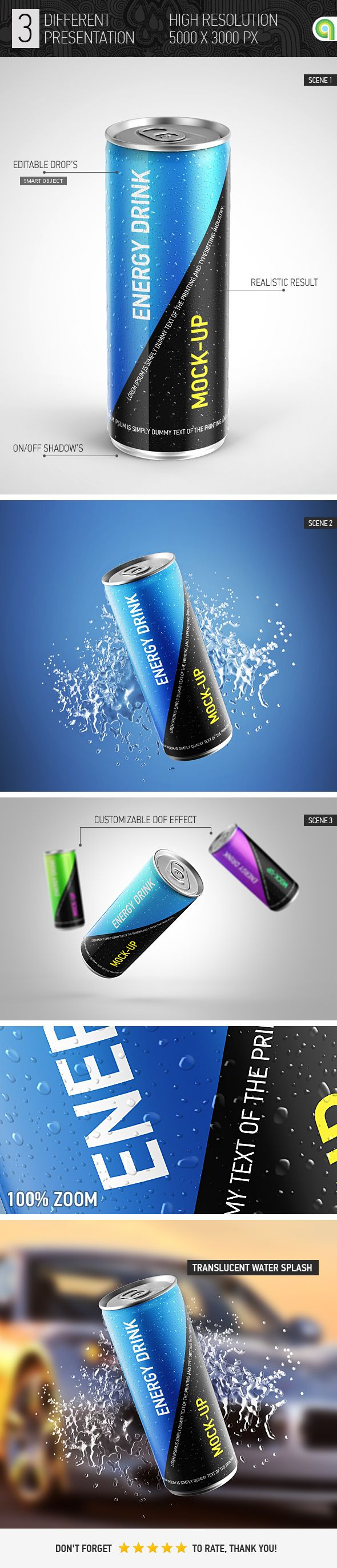 Energy Drink Can Mockup. 250ml, ads, aluminium, beer, beverage, can, can mock-up, can mockup, cola, cold, drink, drop, droplet, drops, energy drink, freeze, fresh, frozen, ice, label, logo mockup, mock-up, packaging, soda, soft drink, splash, steel, water #mockup