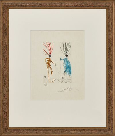 """Salvador Dali  spansk 1904 - 1989  """"The Two Gentlemen of Verona"""" 1970 Fargeetsning på japanpapir, 109/250, 17,5x12,5 cm Signert nede til høyre: Dali   Fra serien """"Much Ado about Shakespeare"""" 1970  Michler-Löpsinger 405"""