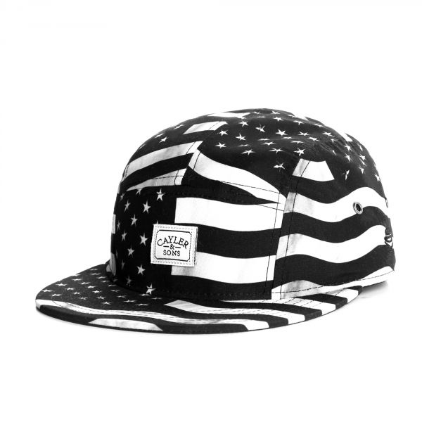 Men's Cayler & Sons USA Flagged 5 Panel Strapback Hat - Black / White