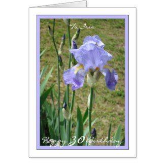 30th Birthday Iris Personalize, Blue Mauve Iris 1 Card