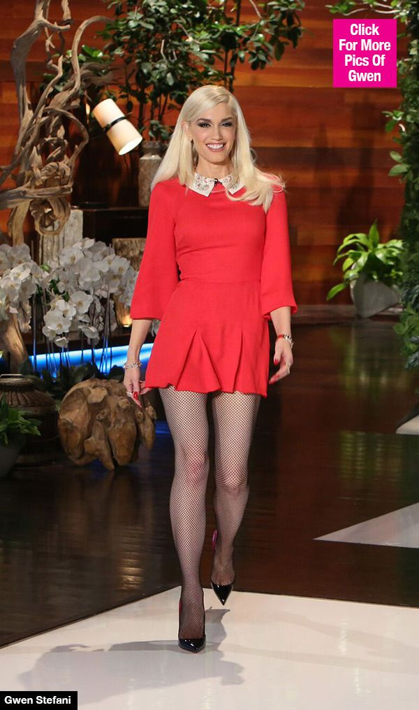 Gwen Stefani looked red hot during her appearance on 'The Ellen Show' on Nov. 19. 'The Voice' singer looked so fierce showing off her trim legs in a scarlet mini dress and fish-nets tights. Are you a fan?