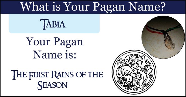 <b>Tabia</b>, your pagan name connects you to the rustic basics that the Earth hides behind her veil. Your pagan name connects you to the aura of mother nature and bonds you indelibly together.  Share this with your friends and let them discover their Pagan name.