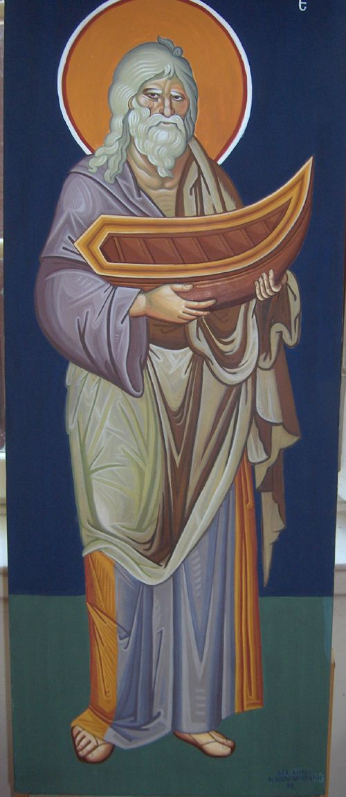 Prophet Noah, Byzantine Greek Macedonian School of Emmanouil Panselinos, original mural painting in Mount Athos, Greece size c. 140 x 60 cm