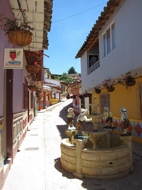 Typical colonial streets of Guatapé, Colombia
