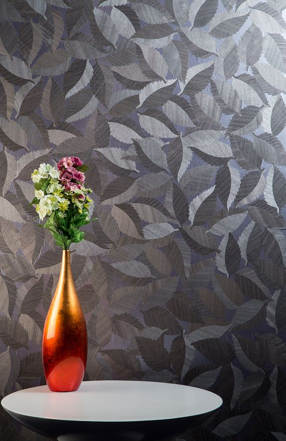 Wood Leaf Charcoal is an elegant timber wallcovering with an organic leaf pattern from the Natural Wallcoverings collection.