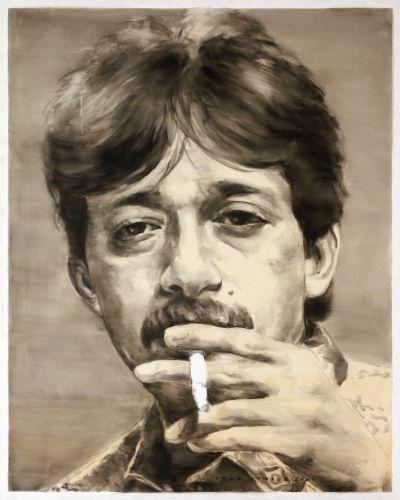Yang ini buatan Agus Suwage. Suka dengan gambaran manusiawi #Munir yang sedang merokok... #8ThnMunir