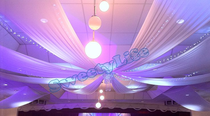 Wedding 12 pieces Ceiling Drape Canopy Drapery for decoration wedding fabric 0.45m*10m per piece Roof polyester knitted fabric(China (Mainland))