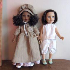 Robe de pionnier 19 siècle pour poupées journey girls ou  my life  de madame alexander