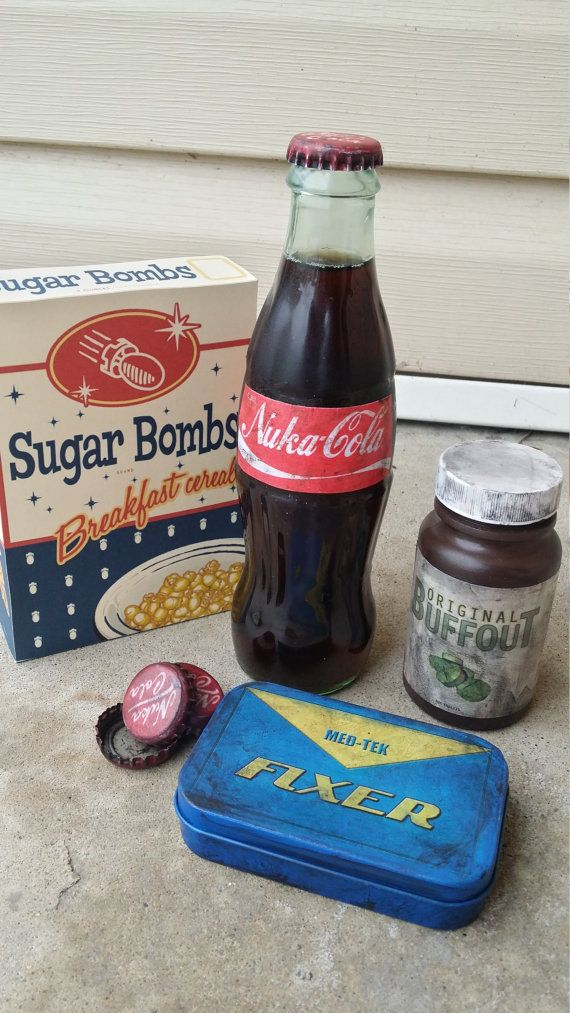 Nuka Cola Soda in Bottle, Distressed Fallout Cosplay Prop or Wasteland Collectable Video Game Memorabilia. Fallout Nuka-Cola Glass Bottle