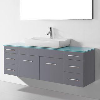 Virtu UM-3083-GR Biagio 56-inch Single Bathroom Vanity Cabinet Set in Grey