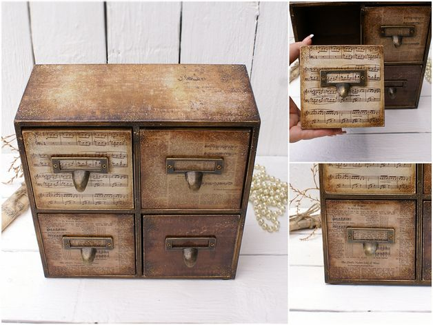 Schachteln - Music Theme Wooden Mini Brust Schubladen, Schmucks - ein Designerstück von alenahandmade bei DaWanda