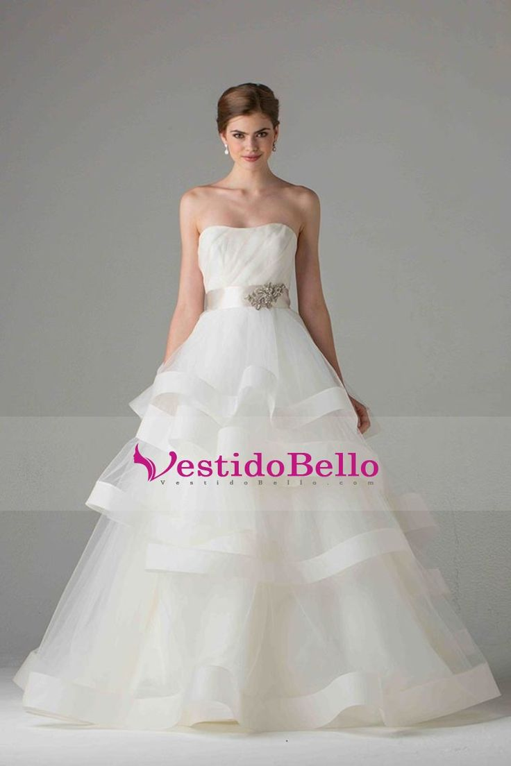 2017 una línea de novia palabra de longitud vestidos de novia sin tirantes de organza de cremallera de la espalda