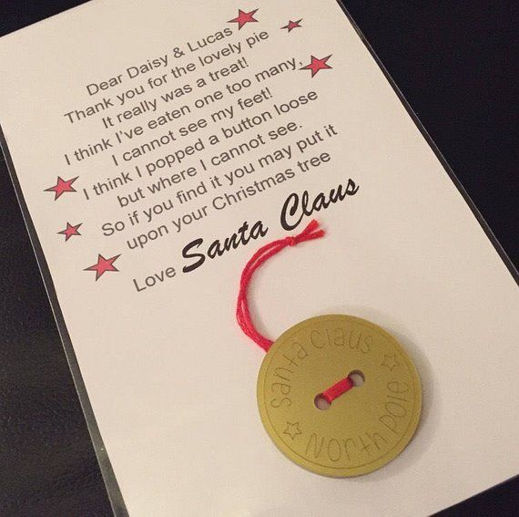 Santa's lost button with a personalised poem for the