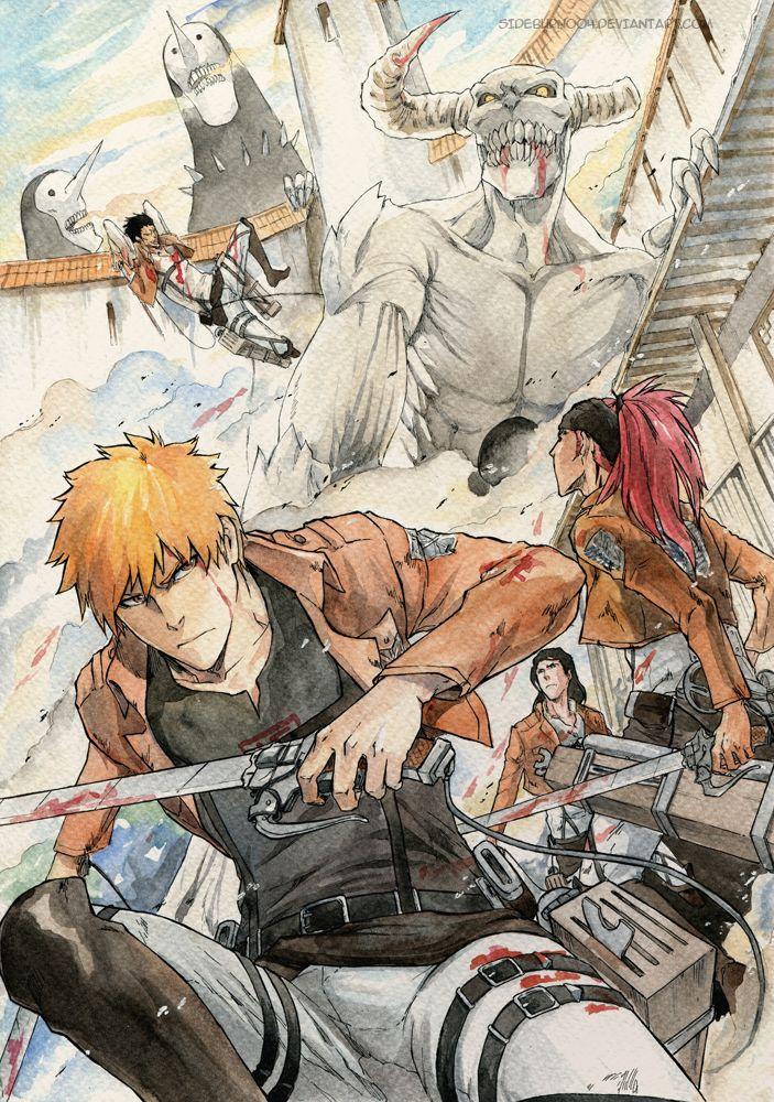 Anime, Fanart, BLEACH, Kurosaki Ichigo, Abarai Renji, Zaraki Kenpachi, Kuchiki Byakuya
