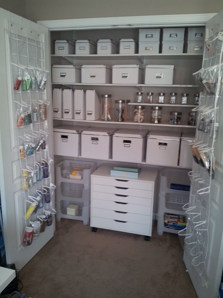Craft storage to include all hand work supplies, sewing, painting, etc. Accessible to kids for art projects.