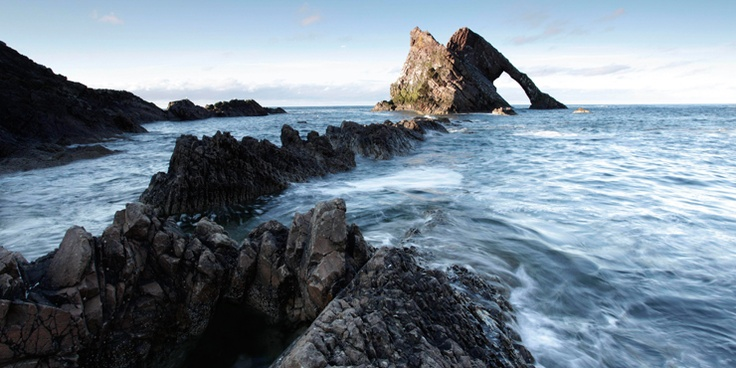 Looking across to the Bow Fiddle Rock at Portknockie on the Moray Coast