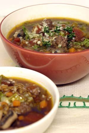 Rustic Farro Soup with Mushrooms and Sausage. I made this fragrant soup tonight and can't imagine someone not loving it. I substituted kale for escarole but otherwise followed the recipe exactly. Delicious!