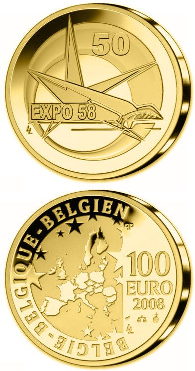 N♡T.100 euro: 50. Anniversary World EXPO in Brussels.Country:	Belgium  Mintage year:	2008 Face value:	100 euro Diameter:	29.00 mm Weight:	15.55 g Alloy:	Gold Quality:	Proof Mintage:	3,000 pc proof