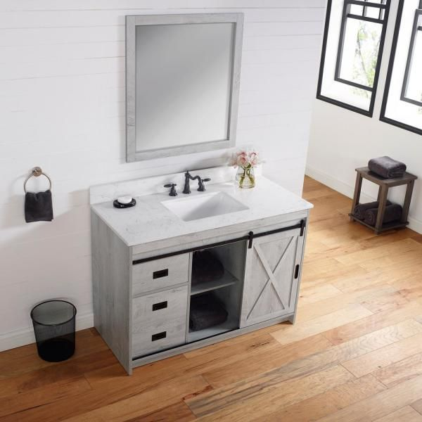 Unbranded Rafter 48 In W X 22 In D Bath Vanity In White Wash With Engineered Stone Vanity Top In Carrara White With White Basin Rafter 48ww The Home Depot Single Bathroom