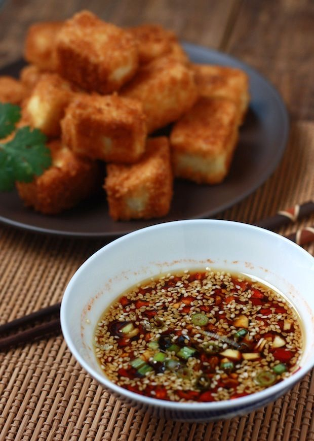"Panko Tofu with Sesame Soy Dipping Sauce - SO GOOD. Mike said, ""This tastes like fried chicken!"""