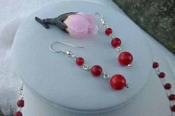 Handmade Earrings  Coral and Sterling Silver TDE-48 by TommyDark