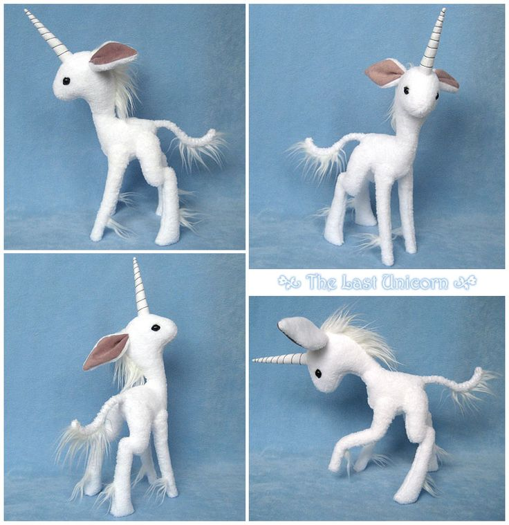 The Last Unicorn by melkatsa.  For The Last Unicorn Art Show!  She has a fleece-wrapped wire skeleton that allows her neck, legs, and tail to be posed, so she's more of a soft sculpture than an actual plush toy. In my original sketch the elongation of her head, the size of her ears, and the thinness of her legs were much more exaggerated, but I think she came out all right The response to this piece has been and continues to be amazing.