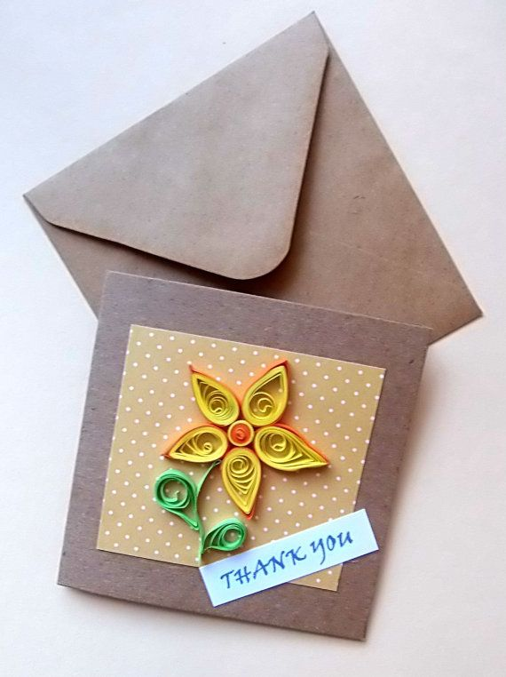 Small Quilled Flower Thank You Card 3.5x 3.5 by ToastyHugs on Etsy £3.00 + postage
