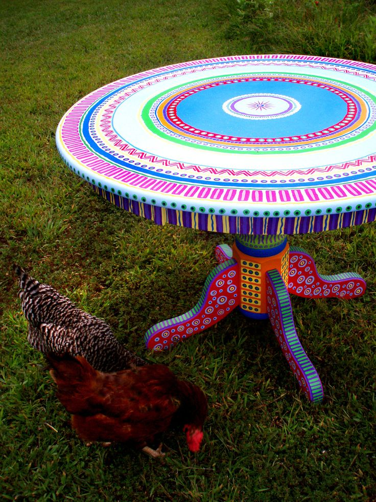 Colorful Kitchen Table Hand Painted Made to Order by LisaFrick