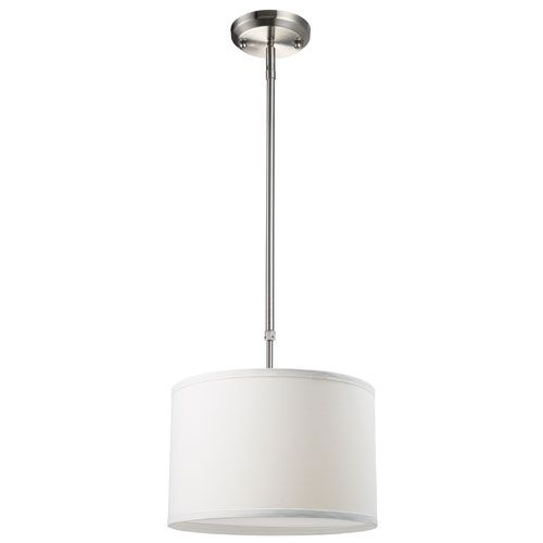 Light fixtures 190 pinterest albion brushed nickel one light 12 inch pendant with white shade mozeypictures Choice Image