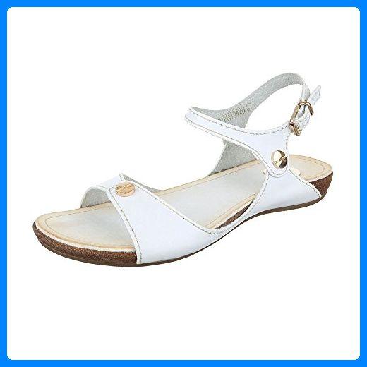 Komfortsandalen Damen-Schuhe Römersandalen Moderne Schnalle Ital-Design Sandalen / Sandaletten Weiß, Gr 39, 12-M41042B- - Sandalen für frauen (*Partner-Link)