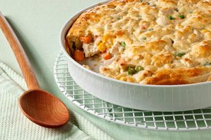 Easy Savory Chicken Pot Pie. A Kraft recipe. Uses Cream Cheese,  chicken broth, chopped cooked chicken, frozen mixed vegetables, garlic, salt,1 egg, milk, all-purpose baking mix. Bakes in 30 minutes. Link to recipe.