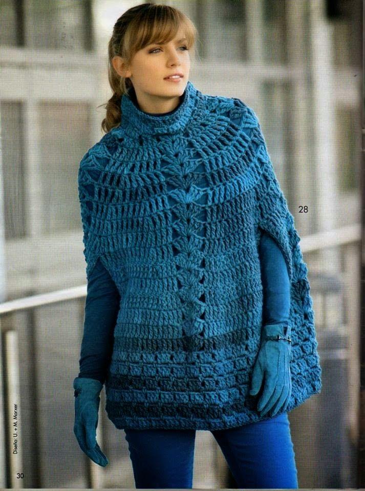 520 besten crochet ponchos Bilder auf Pinterest | Häkelmaschen ...