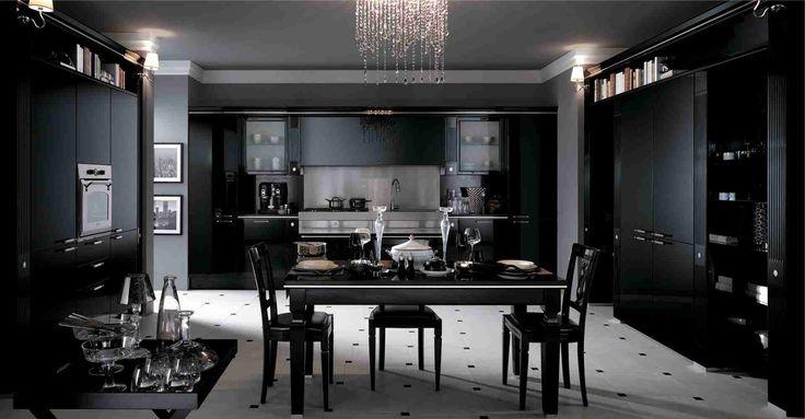 Кухня в стиле арт-деко: тонкости гармоничного интерьера и 75 избранных фотоидей на любой вкус http://happymodern.ru/kuxnya-v-stile-art-deko-foto/ Белый пол на черной кухне добавляет загадочности