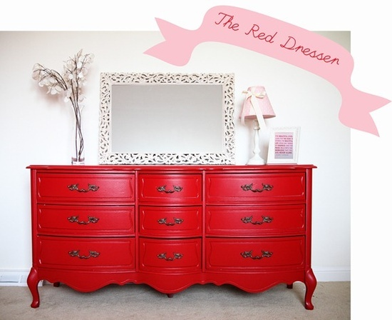 red dresser for yellow bedroom. Put cute glass knobs on