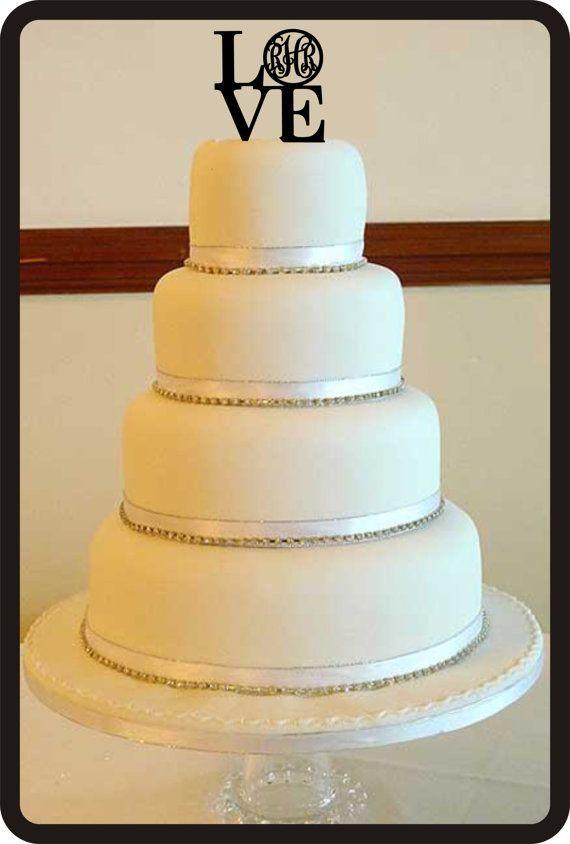 Custom Wedding Cake Topper LOVE Monogram For Wedding with initials
