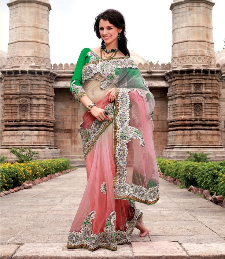 Shaded pink colour saree in net, dupian and satin material.    For more details visit www.ashika.com