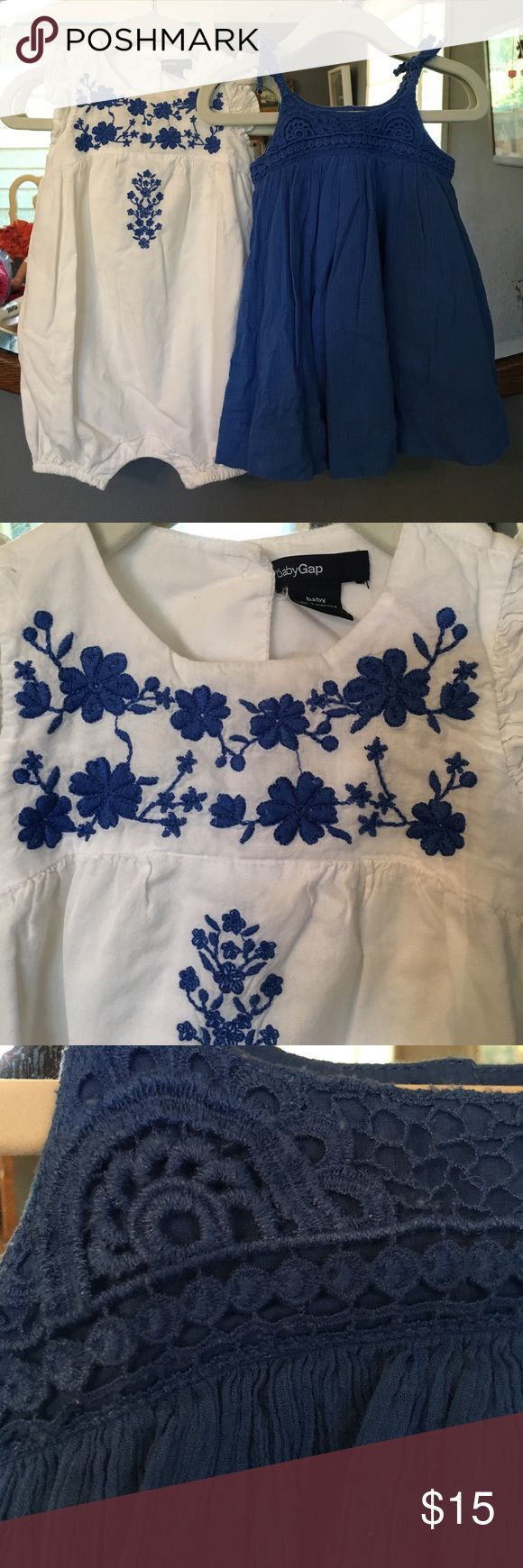 Pair of Baby Gap Cobalt Blue outfits EUC adorable white jumper with cobalt blue embroidery and a blue muslin brocade dresser with bloomers. Both are size 6-12 mos. too cute! GAP Dresses Casual