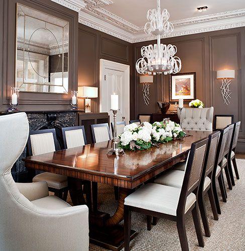 Dark walls in a dining room create a feeling of elegance. #trend #diningroom