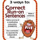 Correcting Run-on Sentences Center Activity for small group or independent station work during guided reading. Students read a run-on sentence, nex...